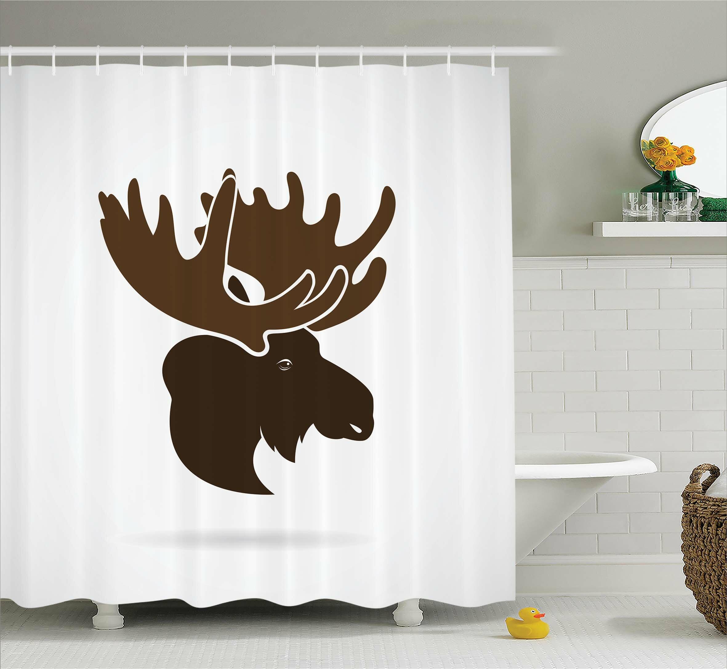 Loon Peak Auburn Canadian Deer Head Shower Curtain