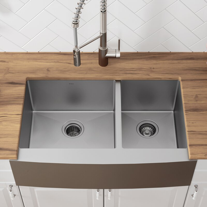36 L X 21 W Double Basin Farmhouse Kitchen Sink With Drain Embly