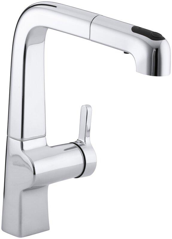 "kohler evoke single-hole kitchen sink faucet with 9"" pullout spout"