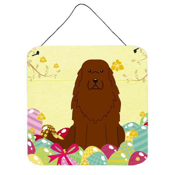 The Holiday Aisle Easter Eggs Caucasian Shepherd Brown Dog Wall ...