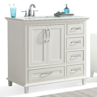 D x 36 in. H Vanity in Espresso with Vanity Top in White, White Right Offset  Basin and Mirror
