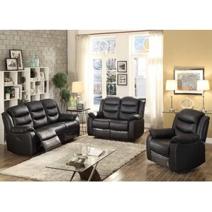 AC Pacific Bennett 3 Piece Leather Living Room Set Image