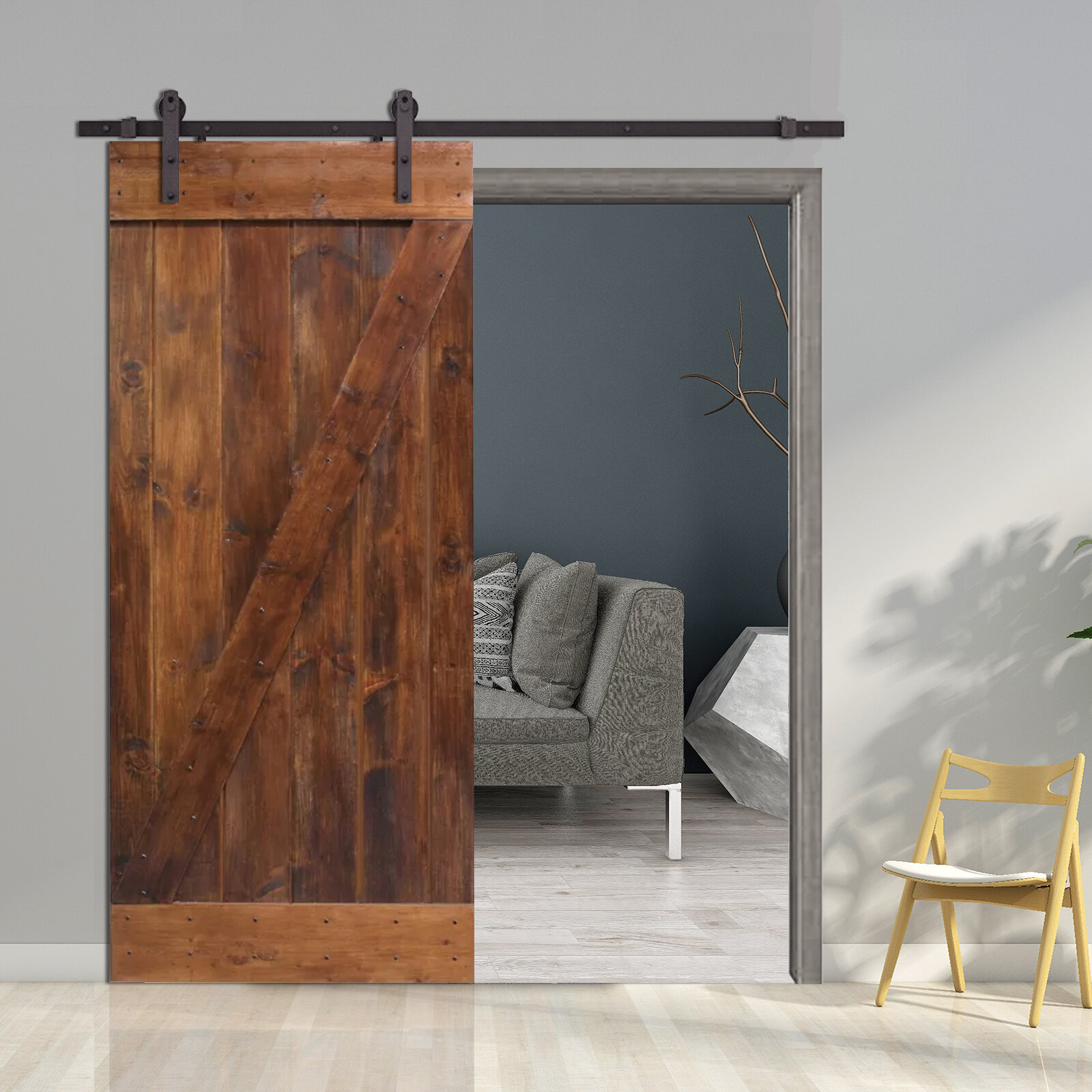 Calhome ZBar Solid Wood Room Divider Pine Slab Interior Barn Door - Doorway floor divider