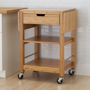 Wenlock Bamboo Kitchen Cart with Drop Lea..