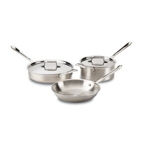 Brushed Stainless Steel 5 Piece Pan Set