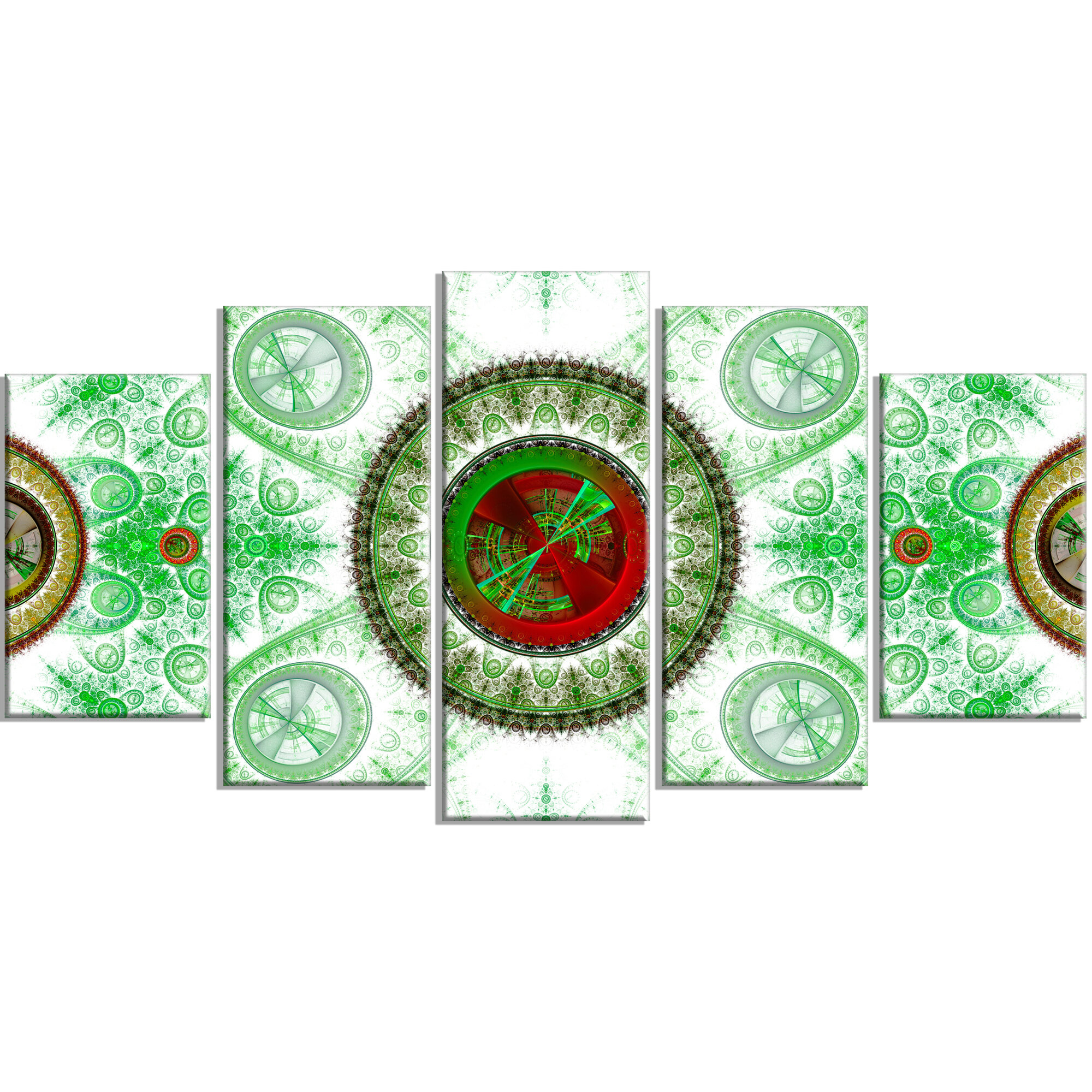 'Light Green Psychedelic Relaxing Art' Graphic Art Print Multi-Piece Image  on Canvas