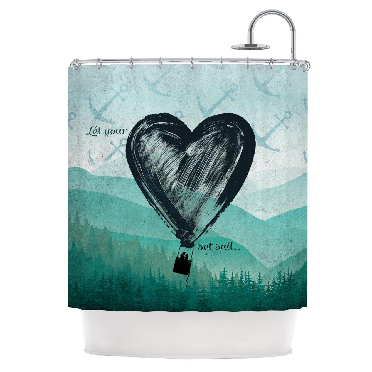 KESS InHouse Heart Set Sail Shower Curtain