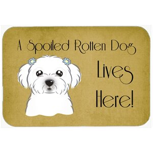 Maltese Spoiled Dog Lives Here Kitchen/Bath Mat