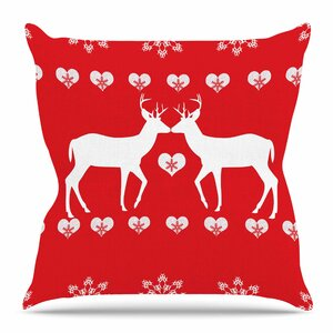 Christmas Deer 2 by Suzanne Carter Throw Pillow