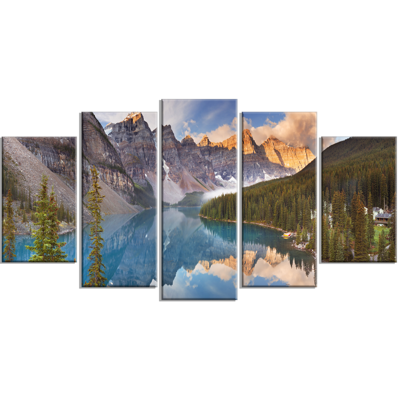 designart moraine lake in banff park canada 5 piece wall art on