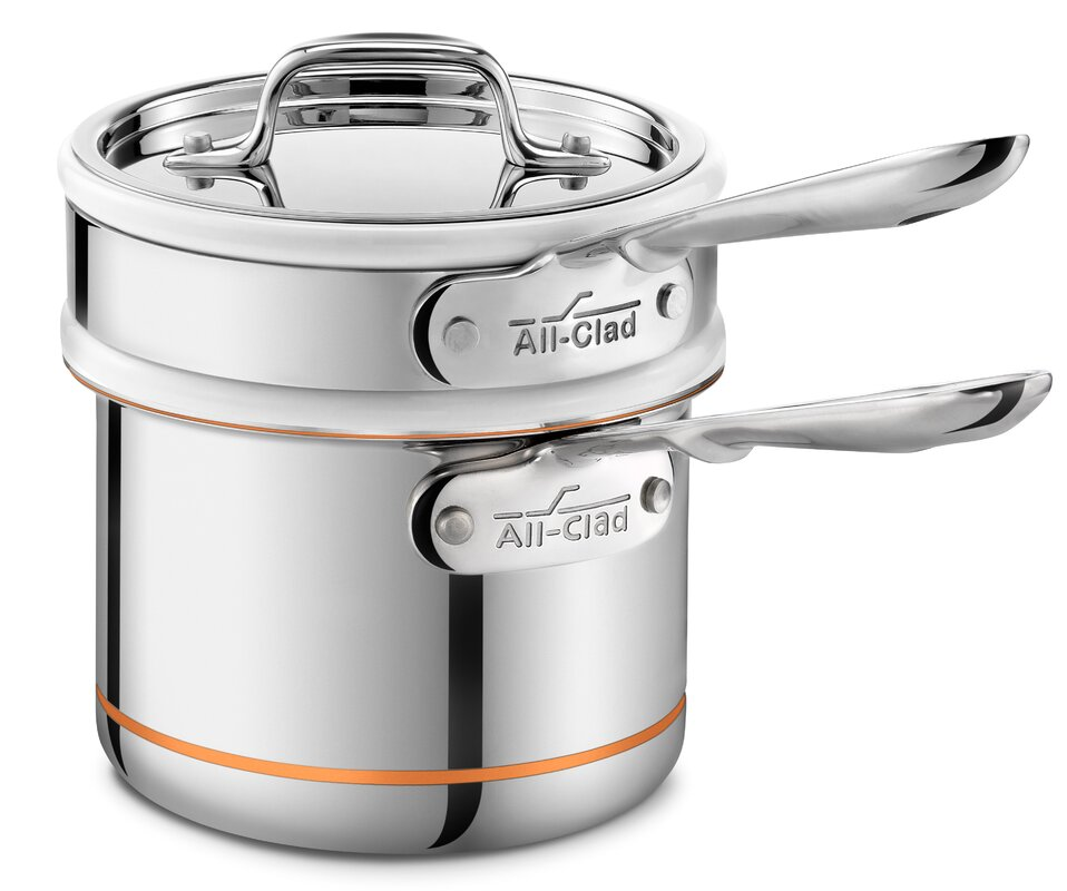 All Clad Copper Core 1 5 Qt Double Boiler With Lid