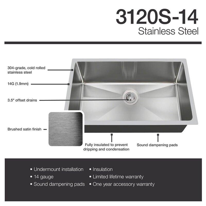 stainless steel 31   x 18   undermount kitchen sink mrdirect stainless steel 31   x 18   undermount kitchen sink      rh   wayfair com
