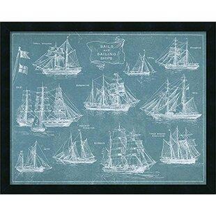 Framed sailing ship art wayfair sails and sailing ships blueprint framed graphic art malvernweather Choice Image
