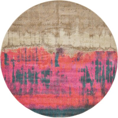 Wrought Studio Wynn Traditional Pink Area Rug Rug Size: Round 8'