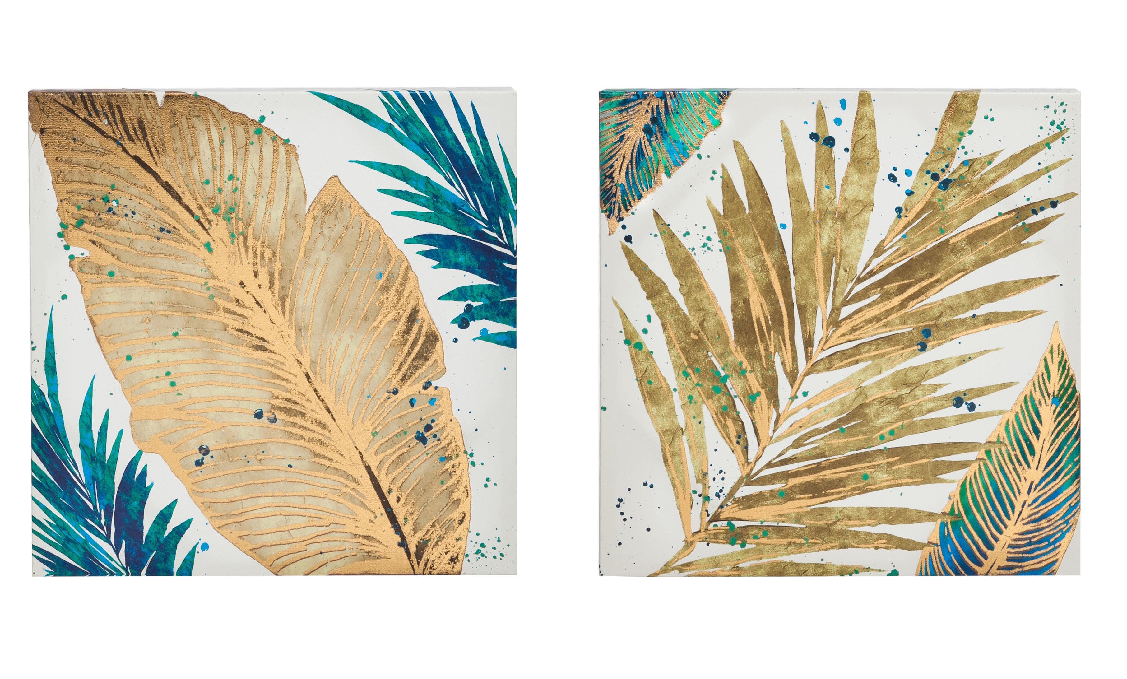Mercer41 Foil Palm Leaves Painting Print on Canvas in Gold | Wayfair