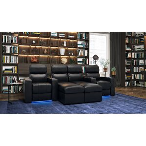 Upholstered Leather Home Theater Sofa (Row of 4) by Red Barrel Studio
