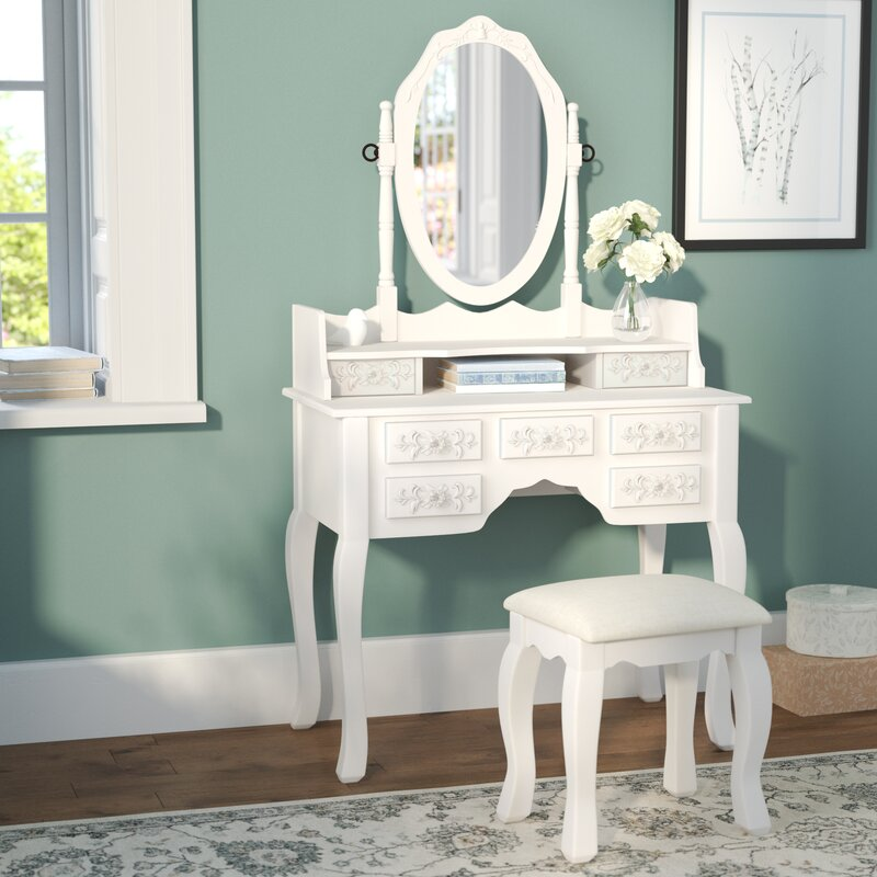 Provence Vanity Set with Mirror And Padded Stool. One Allium Way Provence Vanity Set with Mirror And Padded Stool