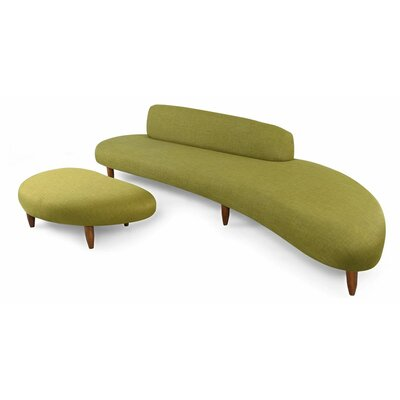Brayden Studio Potvin Mid Century Modern Sofa and Ottoman Set Upholstery Color: Atmoic Moss