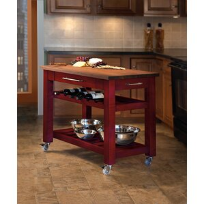 Superior Metro Mobile Kitchen Island With Solid Walnut Top