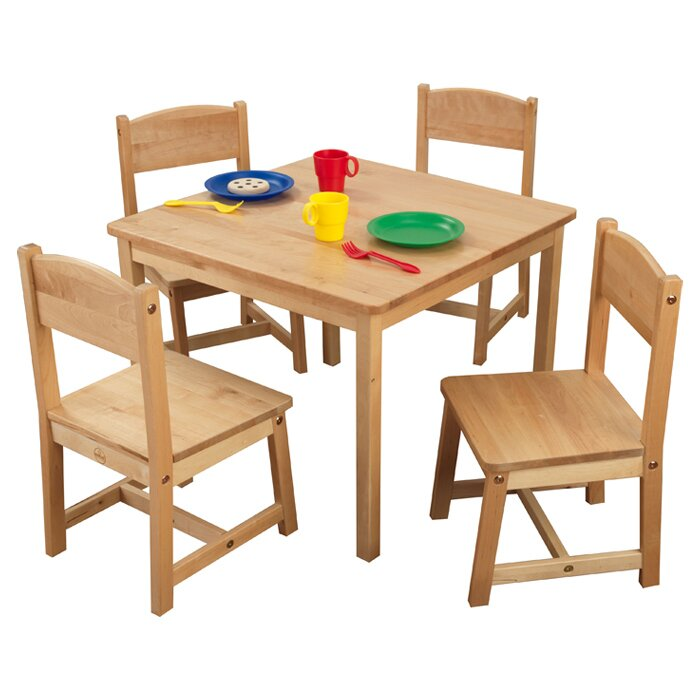 kidkraft farmhouse kids 5 piece square table and chair set reviews wayfair. Black Bedroom Furniture Sets. Home Design Ideas