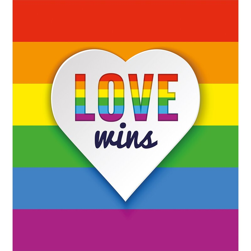 Ambesonne Pride Decorations Rainbow Flag Stripes Heart Symbol With