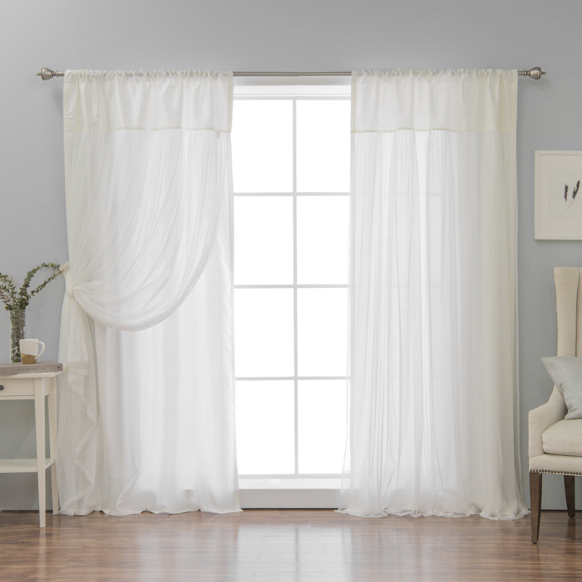 Ariella Faux Silk Tulle Overlay Solid Semi Sheer Thermal Rod Pocket Curtain Panels Reviews Wayfair