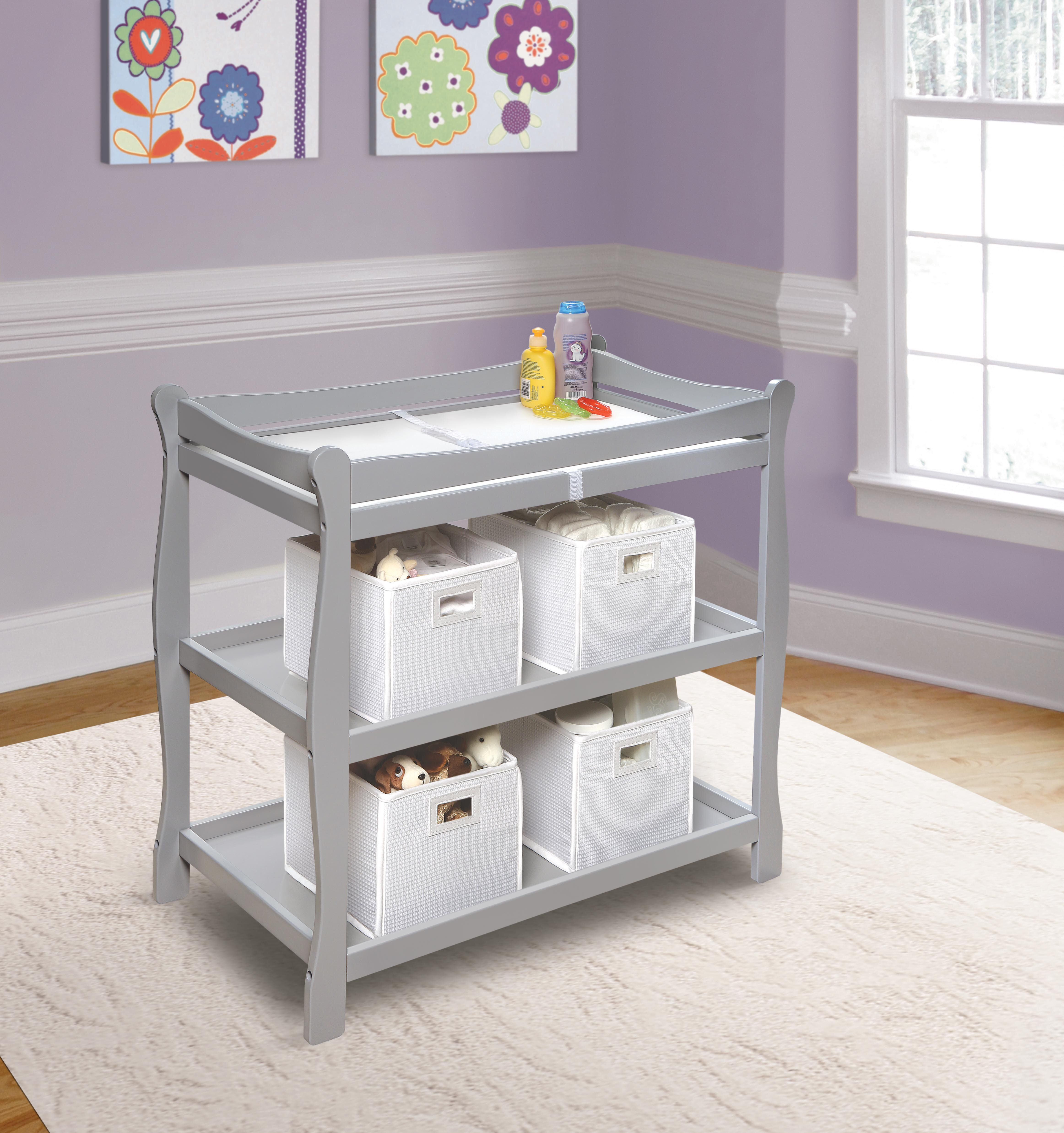 Badger Basket Sleigh Style Baby Changing Table With Pad Reviews Wayfair