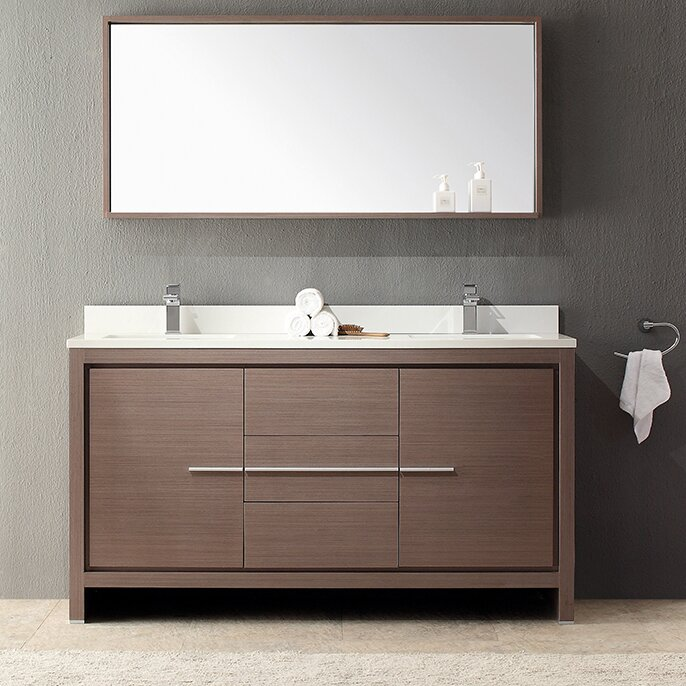 Incredible Allier 60 Double Modern Bathroom Vanity Set With Mirror Download Free Architecture Designs Lectubocepmadebymaigaardcom