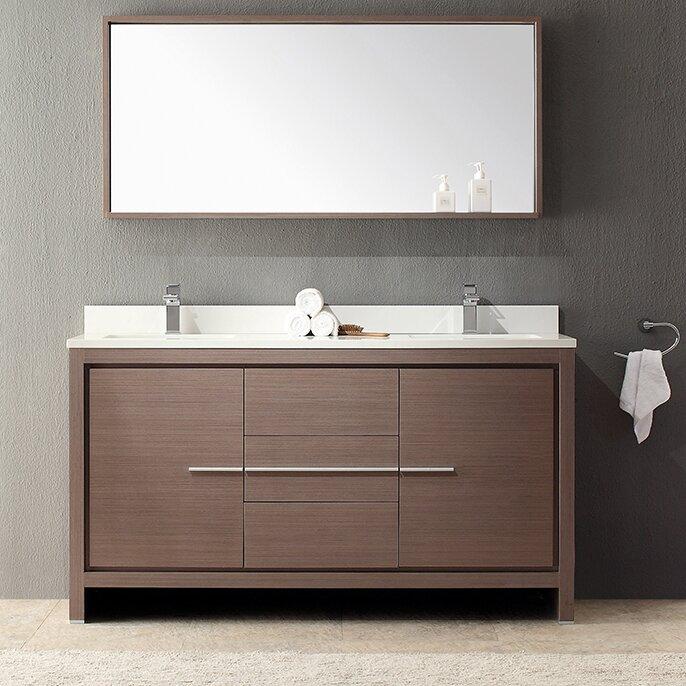 Outstanding Allier 60 Double Modern Bathroom Vanity Set With Mirror Interior Design Ideas Truasarkarijobsexamcom
