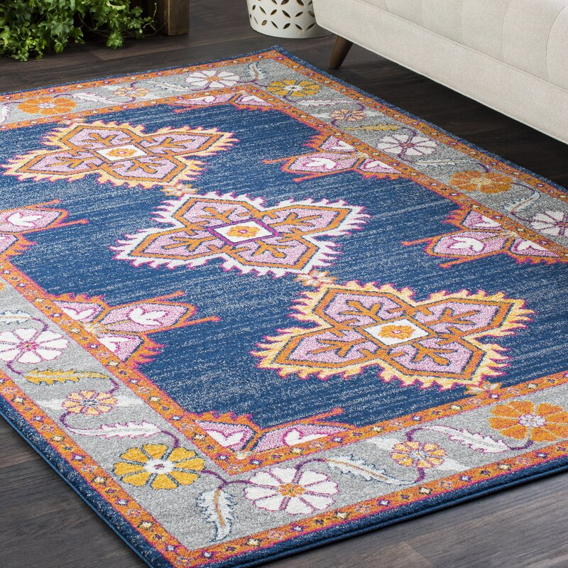 Downs Persian Inspired Navy/Pink Area Rug & Reviews