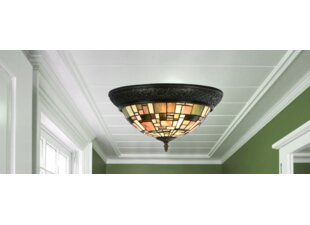 Paule Tiffany Style Stained Gl Modern Lines 2 Light Flush Mount