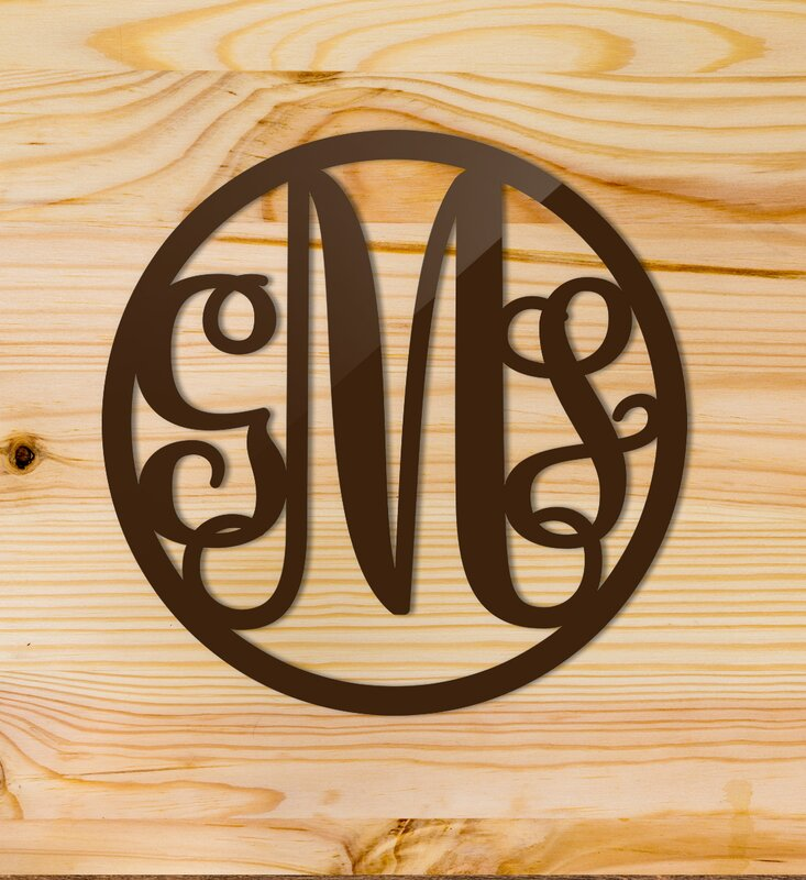 Click Wall Art Custom Classic Metal Monogram Circle Wall Décor ...
