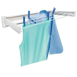 Telegant 70 Retractable Wall Mount Clothes Drying Rack With Towel Bar
