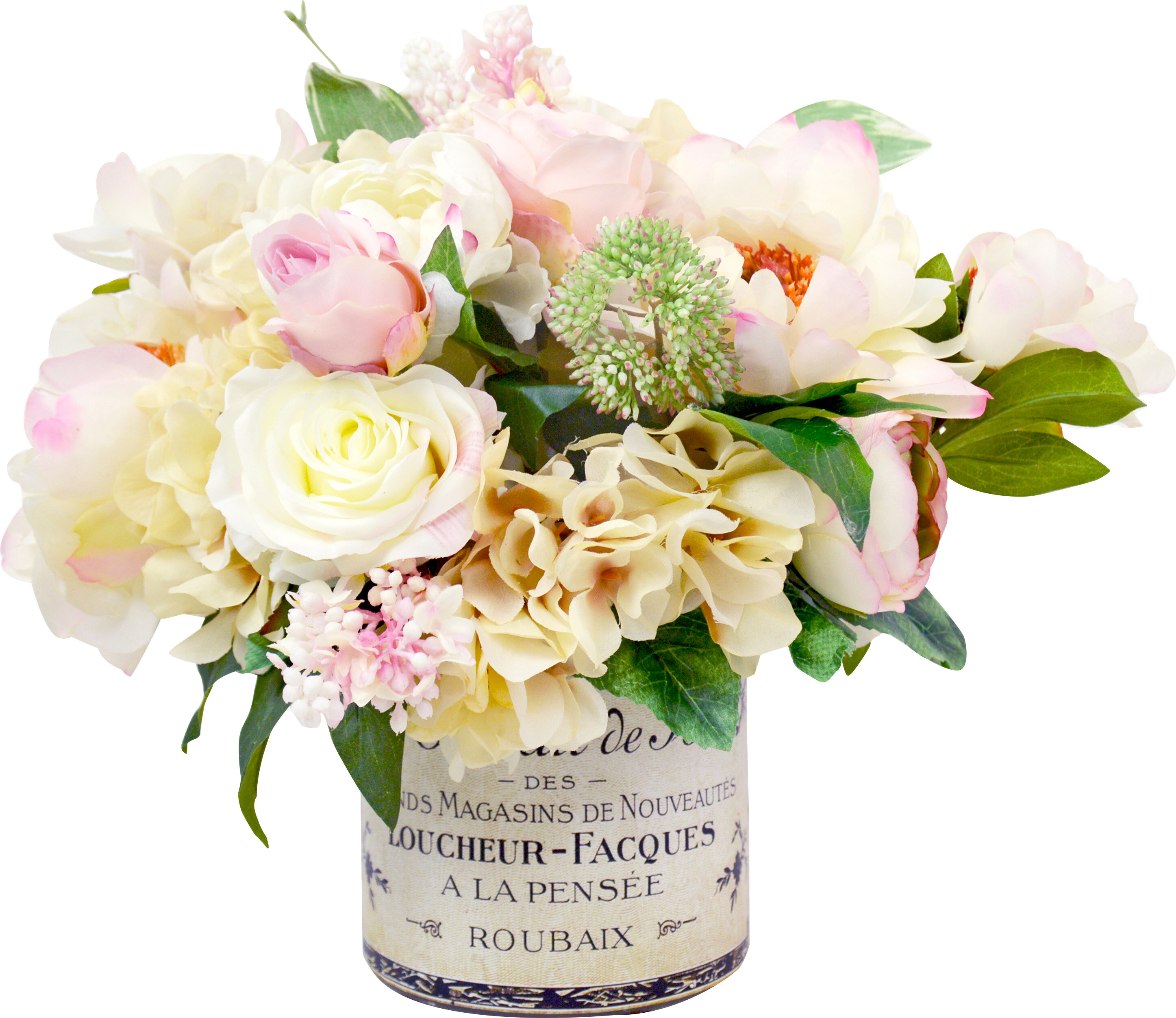 3563ff107 Mixed Peony and Hydrangea Centerpiece in French Label Pot   Reviews ...