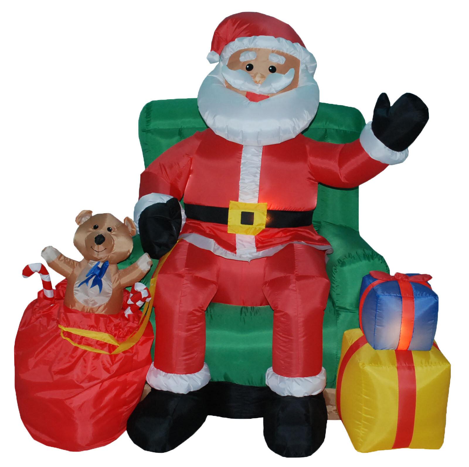 three posts christmas inflatables animated santa on chair wayfair