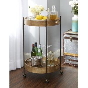 Ginnie 2-Tier Round Metal Frame Bar Cart by Williston Forge
