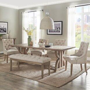 Adrik Salvaged Reclaimed Pine Wood 6 Piece Dining Set (Set of 6)