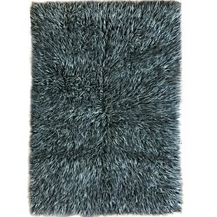 Talan Flokati Wool Black White Area Rug