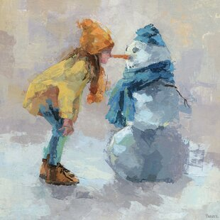 Snowman Love Canvas Art by East Urban Home