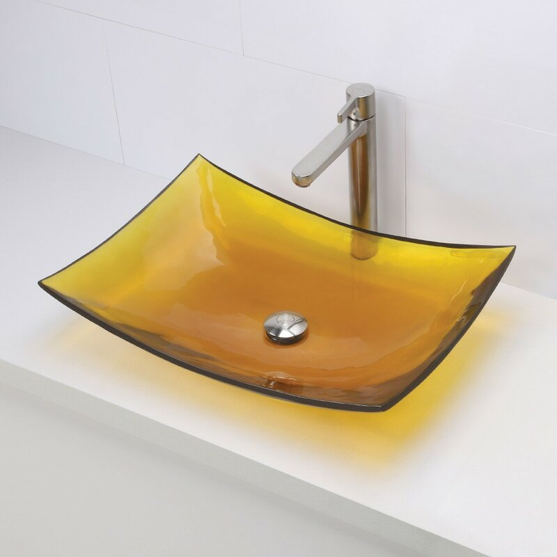 Bathroom Sink Yellow decolav incandescence rectangular vessel bathroom sink & reviews