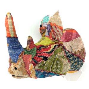 Vintage Sari Fabric Rhino Head Wall Du00e9cor