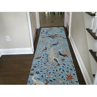 Low priced One-of-a-Kind Beaumont Birds of Paradise Hand-Knotted Runner 2'8 x 8'10 Wool Blue/White Area Rug By Isabelline