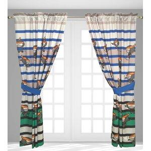 Ninja Graphic Print & Text Semi-Sheer Rod Pocket Single Curtain Panel