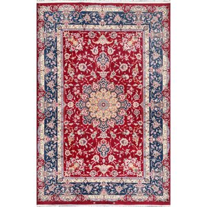 Buy Isfahan Hand-Knotted Red / Navy Area Rug!