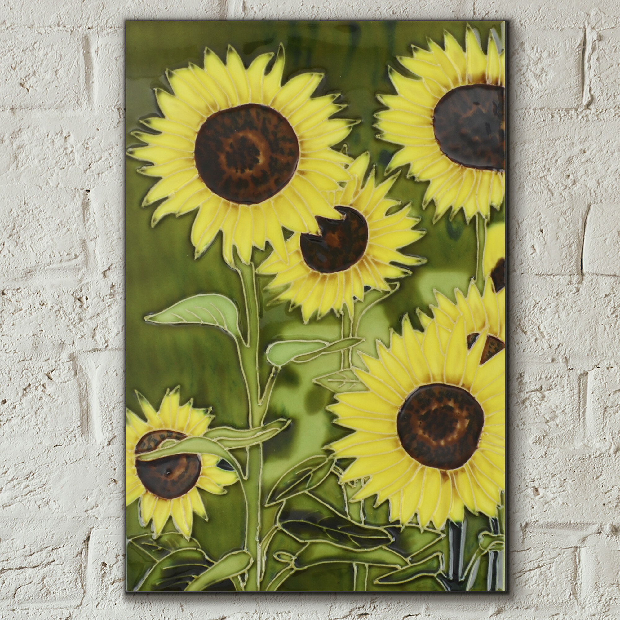 Castleton Home Hand Painted Sunflowers Floral Garden Wall Décor Tile ...