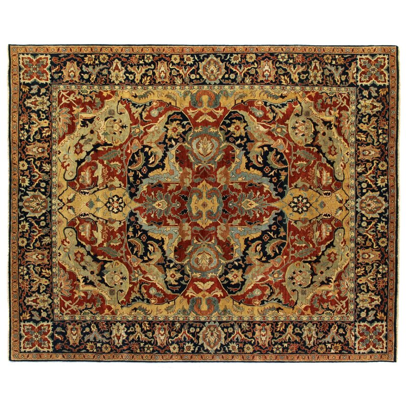 Exquisite Rugs Polonaise Hand Knotted Wool Red Blue Dark