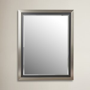 Brushed Nickel Silver and Satin Black Wide Flat Wall Mirror