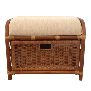 Jerry Rattan Wicker Storage Ottoman by Rattan Wicker Home Furniture