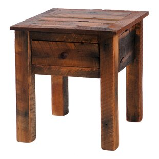 Gentil Barnwood End Table With Storage