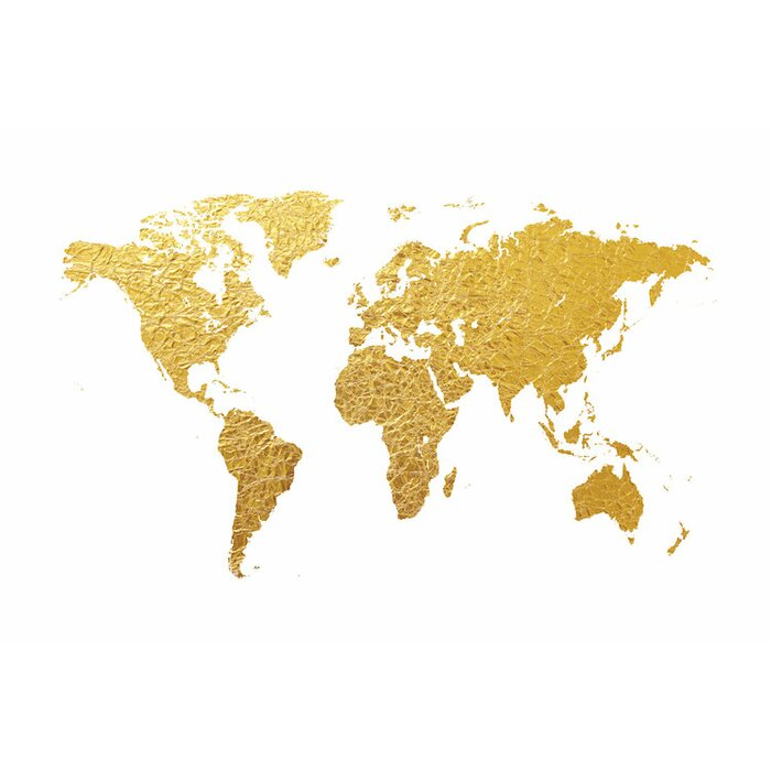 East urban home world map series gold foil on white graphic art on world map series gold foil on white graphic art on wrapped canvas gumiabroncs Gallery